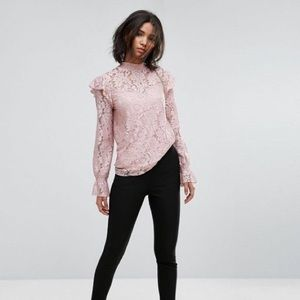 ccd053adcd3c3c ASOS Tops   Vila Pink Lace High Neck Blouse   Poshmark